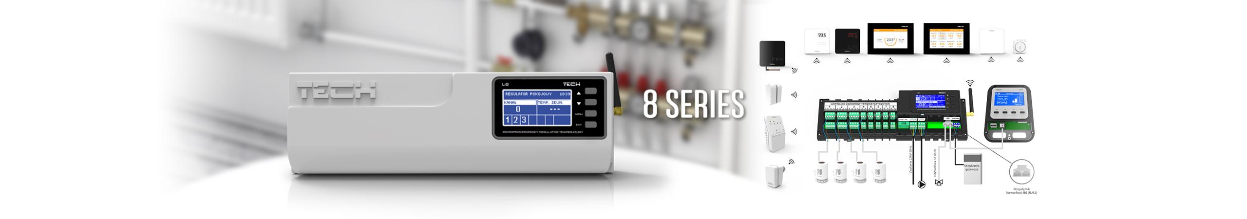 Sterowniki do ogrzewania podłogowego i grzejnikowego - Seria 8 - zdalne sterowanie przez internet instalacjami - TECH Sterowniki