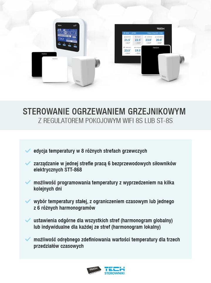 Sterowanie ogrzewaniem grzejnikowym z regulatorem pokojowym wifi-8s lub st-8s
