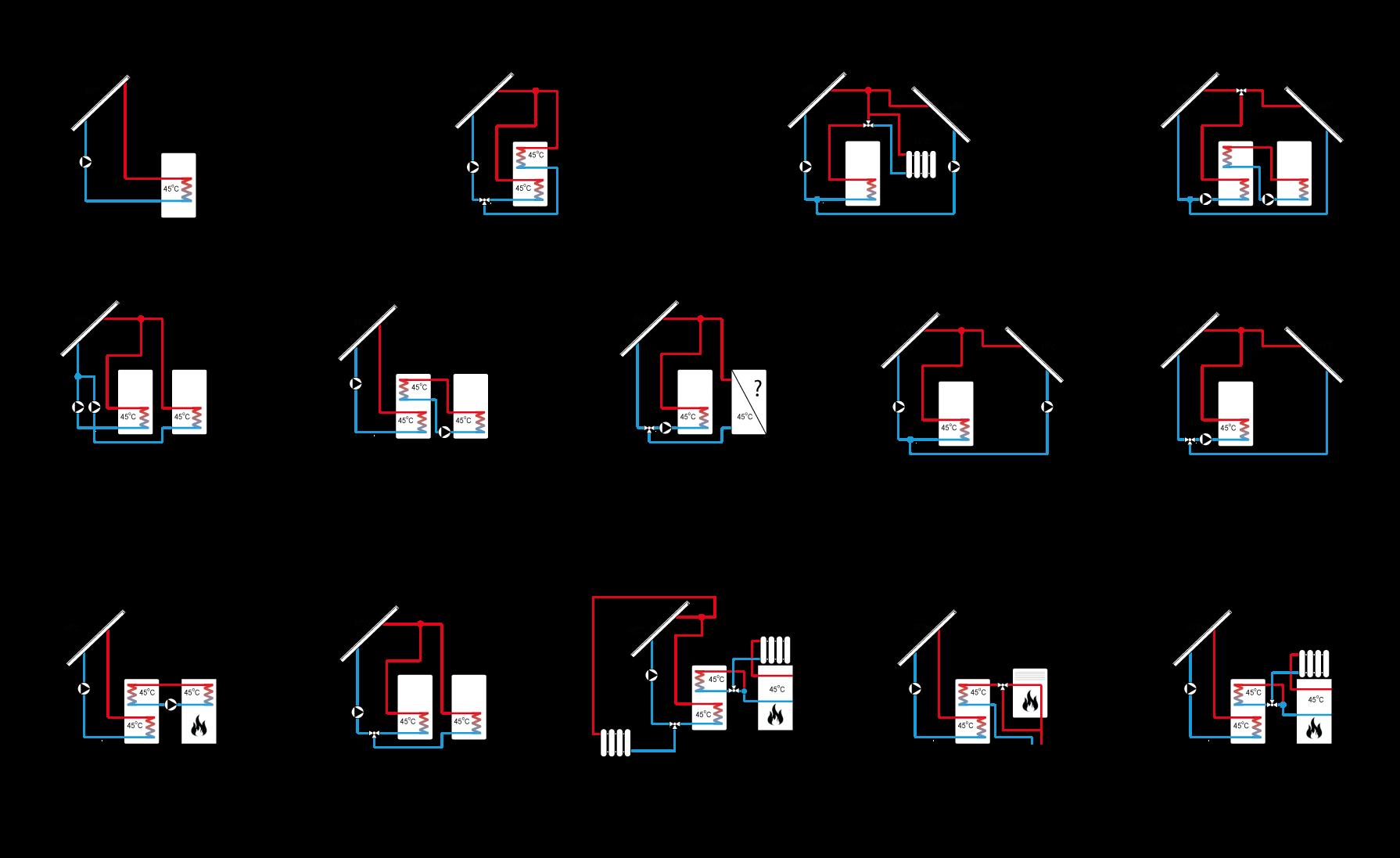 Schematy instalacji, którymi można zarządzać z poziomu sterownika ST-402N
