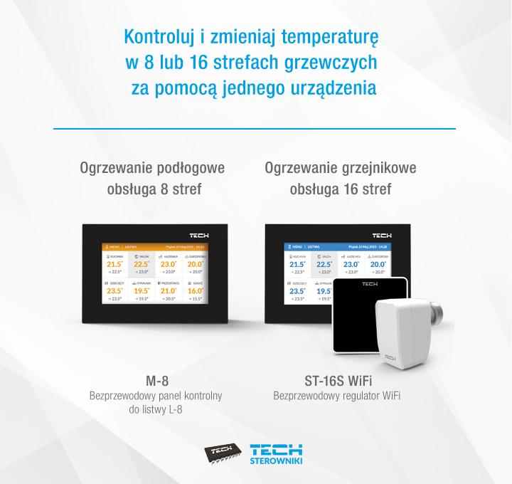 Kontroluj i zmieniaj temperaturę w 8 lub 16 strefach grzewczych