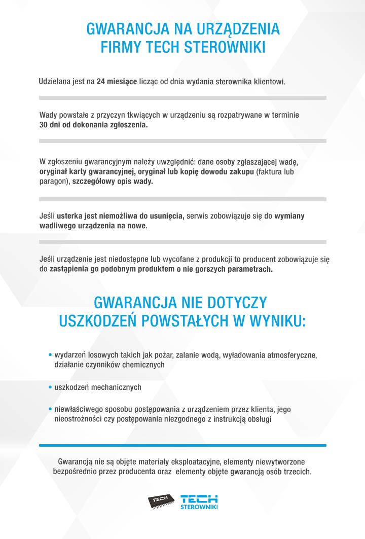 Gwarancja na urządzenia firmy TECH Sterowniki