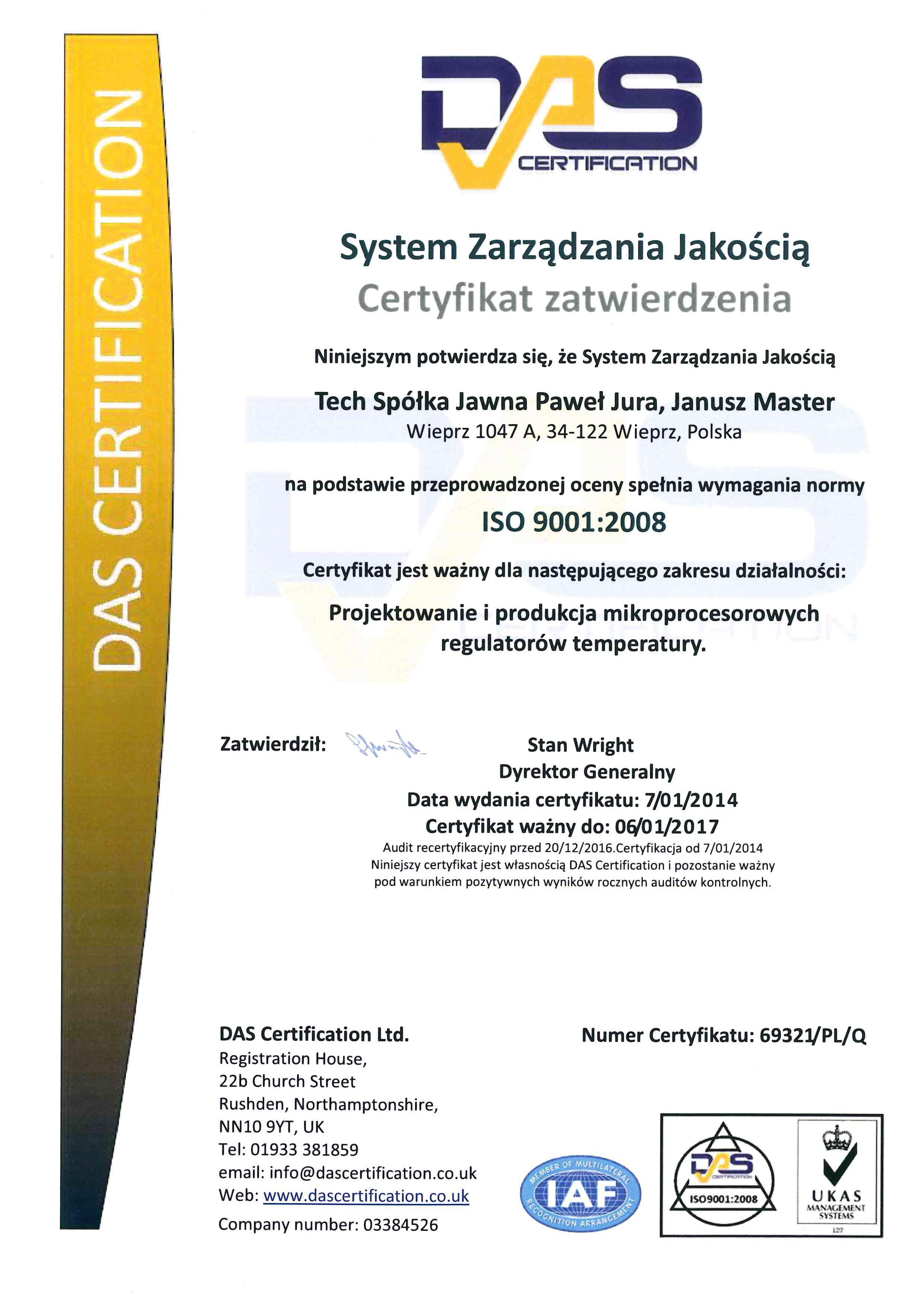 Certyfikat: System Zarządzania Jakością
