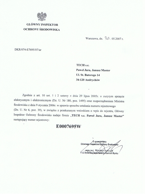 Numer rejestrowy nadany przez Głównego Inspektora Ochrony Środowiska