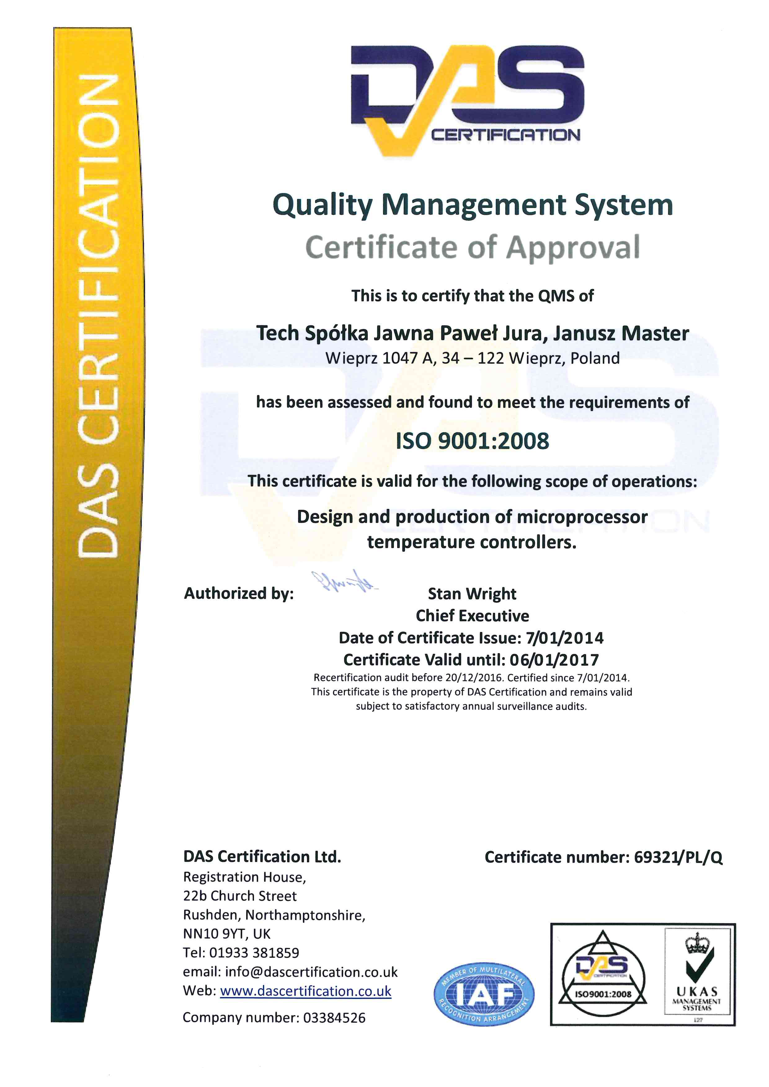 Certificate of DAS