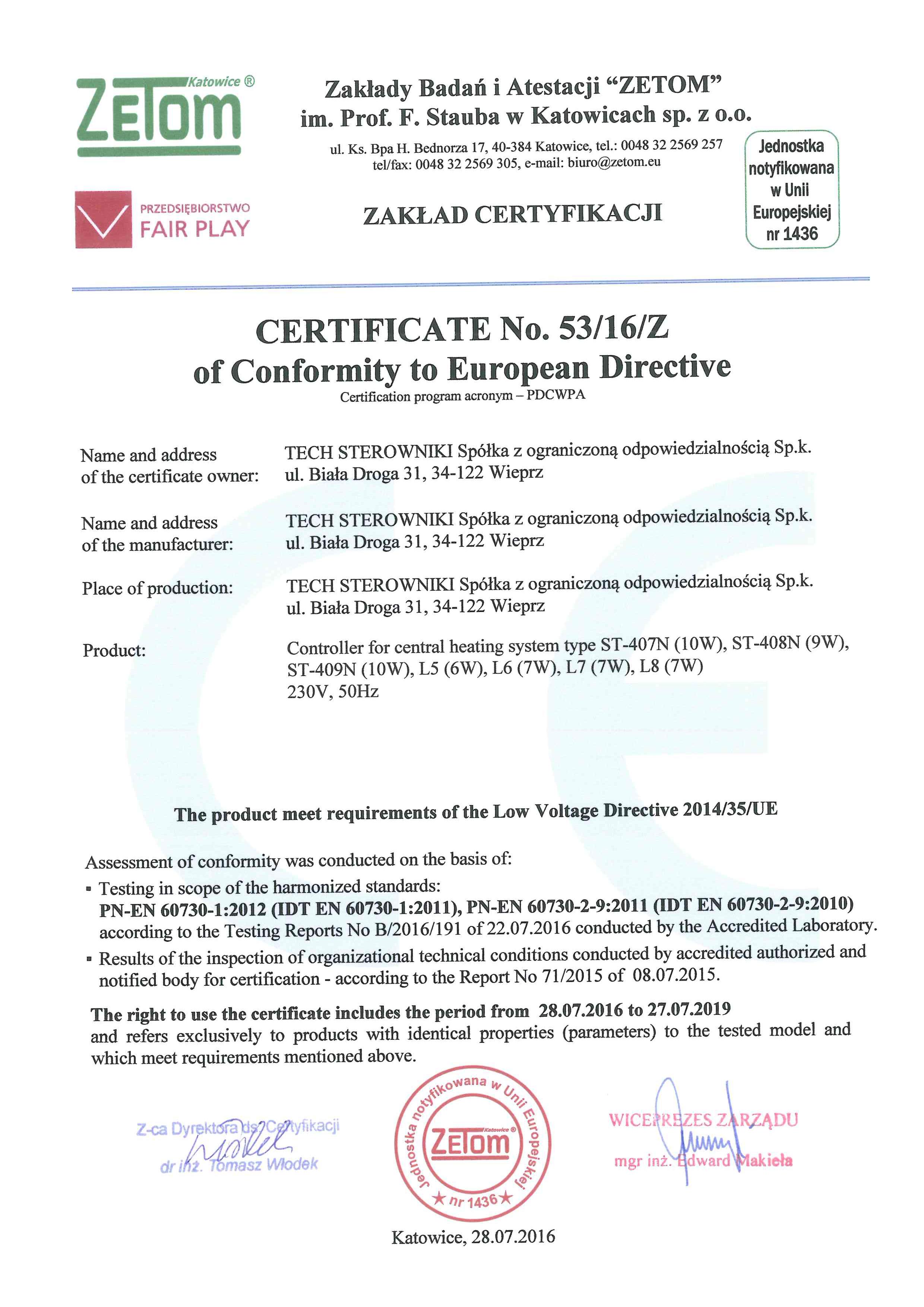 Certyficate of conformity to Europen Directive